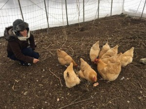 Marina with Chickens